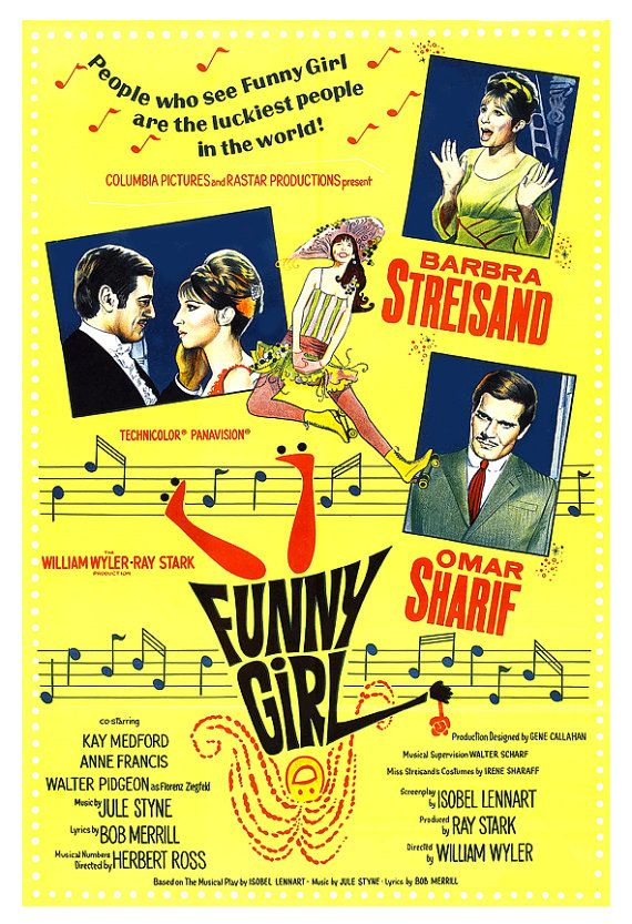 Barbara Streisand - Funny Girl - Movie Musical Poster Print  - 13x19 - Vintage Movie Poster- Broadway Musical - Omar Sharif