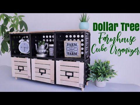 DOLLAR TREE DIY Farmhouse Cube Organizer – YouTube