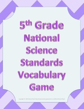 Vocabulary Game 5th Fifth Grade NGSS Next Generation Science Standards