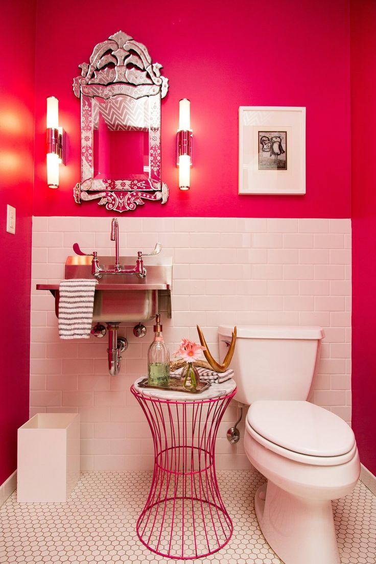 Brooke & Jerrid's Bold Downtown Minneapolis Warehouse Loft Pink bathroom