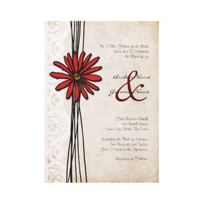 Vintage Red Daisy Wedding Invitation