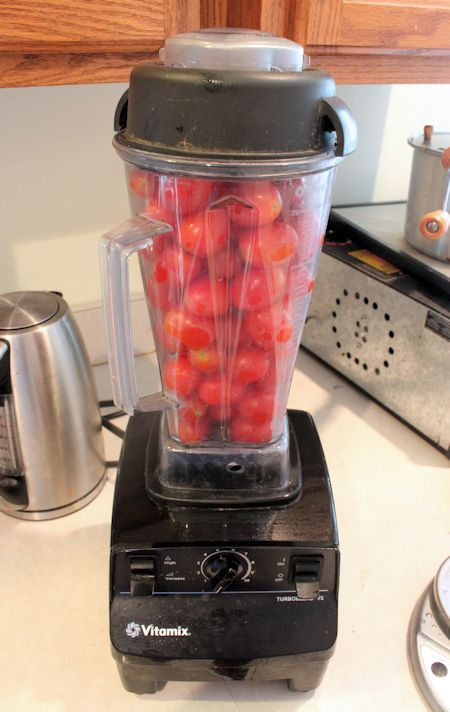 Vitamix tomato sauce.  @JenHomutoff if you want to borrow mine to process some of the tomatoes, let me know. I can part with it for a short while. It does amazing to process the whole tomato. I'm going to try this with what you brought me.