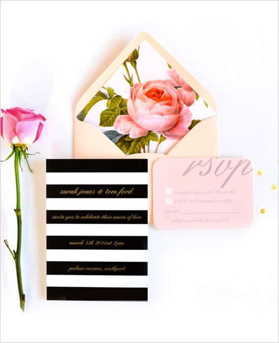 Bright and fabulous invitation. Stationery: Daydream Prints #weddingchicks #wchappyhour http://www.weddingchicks.com/2014/06/27/daydream-prints-evangeline-lane-cloud-nove-events/: Daydreams Prints, Idea, Black And White, Wedding Invitations, Blushes And Gold, Gold Weddings Invitations, Envelopes Liners, Stripes, Floral