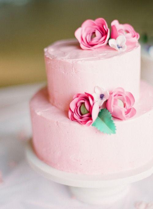 ♥ pinkPink Flower, Pink Cakes, Pretty Cake, Pink Wedding Cake, Rose Cake, Layered Cake, Birthday Cake, Simple Wedding, Simple Cake