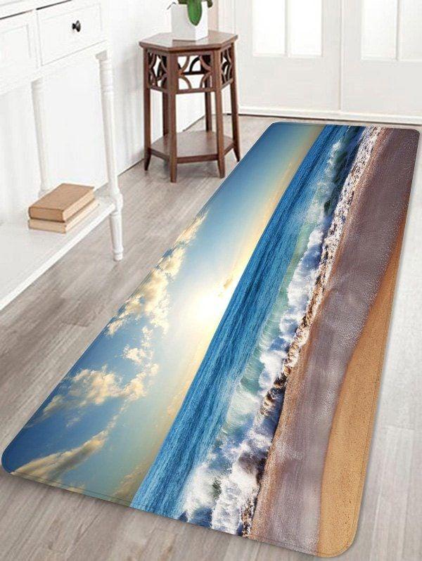 Beach Huge Sea Waves Scenery Printed Skidproof Floor Mat Floor Mats Painted Brick Walls Rugs On Carpet