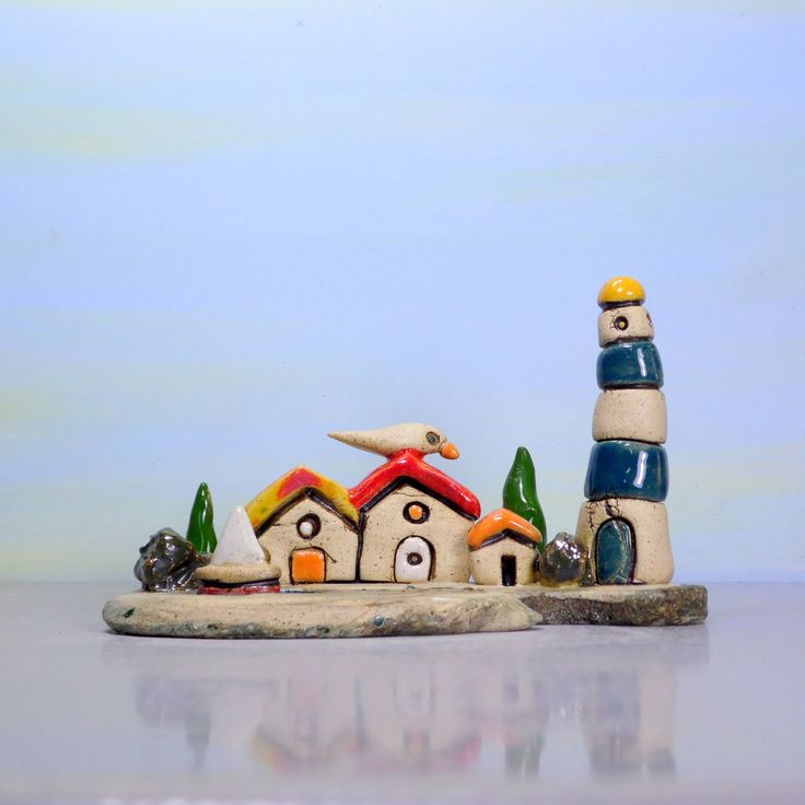 Little sculpture, Mediterranean art, Ceramic sculpture, Ceramics and pottery, Clay houses, Lighthouse, Beach decor, Office desk accessories by ednapio on Etsy