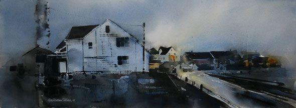 Hilde Eilertsen Sletvold - Henningsvær. watercolor. Hole Artcenter as