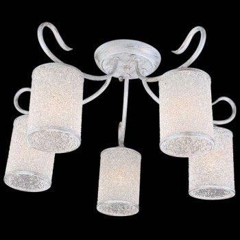 Белая люстра на пять рожков с пузырчатыми плафонами STYLE II 11379/5С WHITE GOLD от Немецкого производителя интерьерного освещения Natali Kovaltseva, выполненная в классическом стиле, основание бра выполнено из металла в белом цвете с искусственной позолотой, стеклянные плафоны выполнены в виде прозрачных пузырьков.