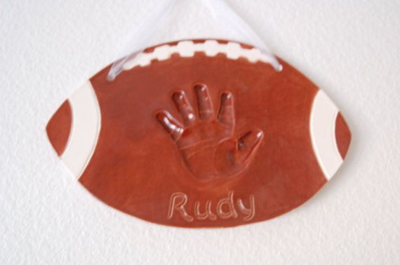 Personalized Child's Hand Print , Football Theme Nursery - Sport Theme Nursery Print - Gift For New Dad - Personalized Baby Print - For Baby