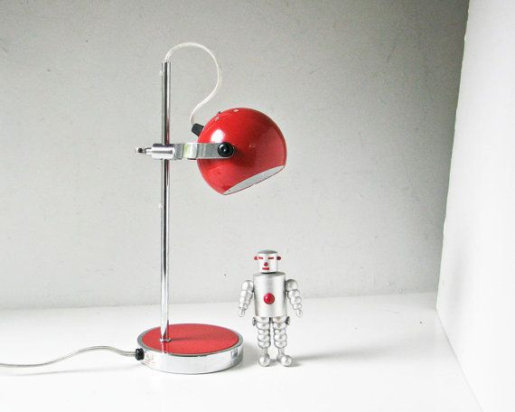 1970s Red And Chrome Table Lamp Modern Red Desk Lamp By BeeJayKay, $78.00