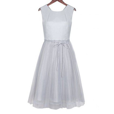 Sweet Scoop Neck Lace-Up Organza Splicing Sleeveless Women's Dress