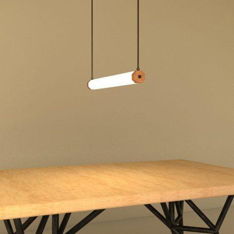 Esta luz de techo tiene un diseño minimalista. Está construida en acrílico, madera, metal y luz led. La luz está rodeada por un acrílico opaco que permite crear un solo objeto iluminado. Tiene dos extensiones de metal que son las que sostienen esta lámpara del techo y permiten ser modificados en altura.  Recuerda que tu puedes hacer parte de la construcción de estos objetos y modificar este diseño en compañía de uno de nuestros diseñadores.  Producto diseñado y construido artesanalmente en…