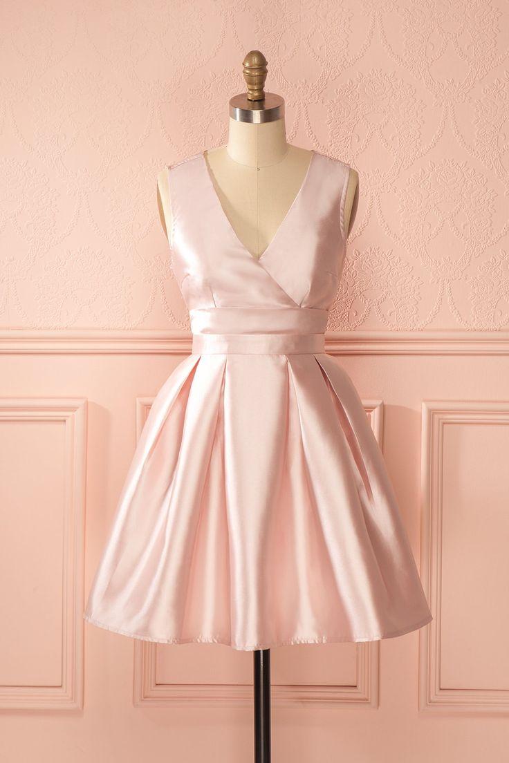 Robe trapèze rose clair satiné découpe dos - Satined baby pink back cut-out a-line dress