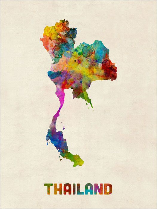 A watercolor map of the Thailand on a vintage background, art print  Frame/Matte…