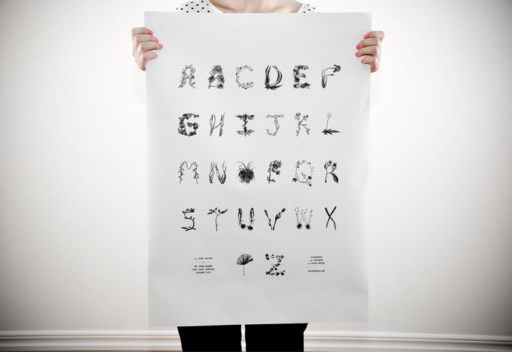 ABC-Poster where the letters are made of different plants. Perfect for a garden geek like me!. Made by Sasha Prood.