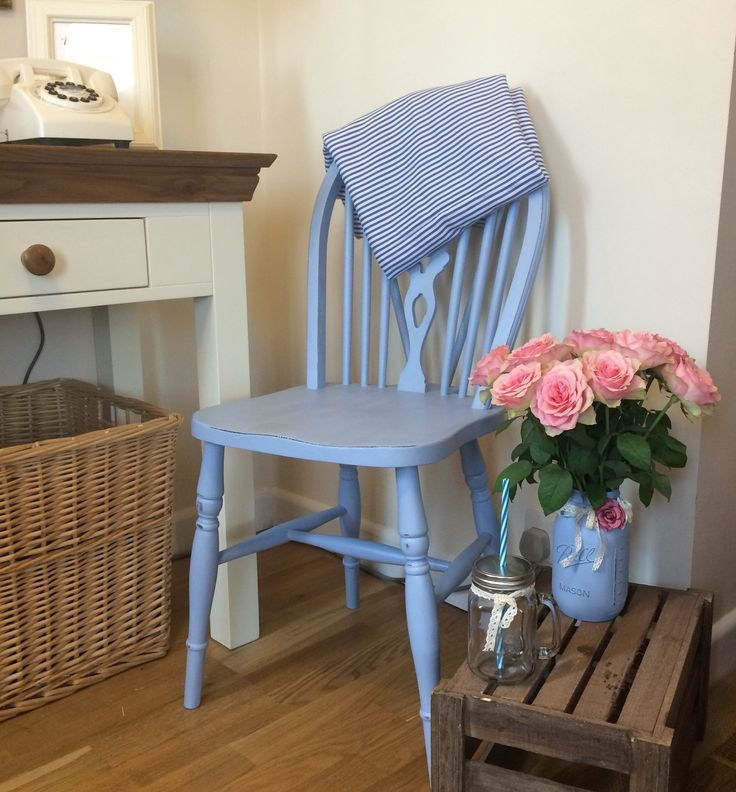 UpCycled country style farmhouse chair. Painted in Annie Sloan 'Louis blue' chalk paint.