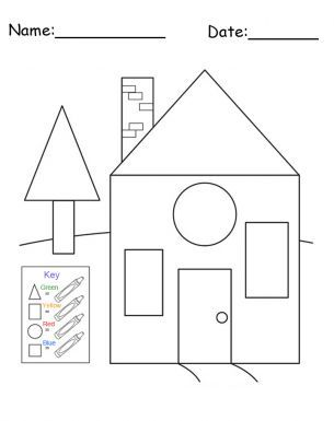 free printable house shapes worksheet can be printed and is a great free printable item if you like printable preschool lessons and worksheets then check