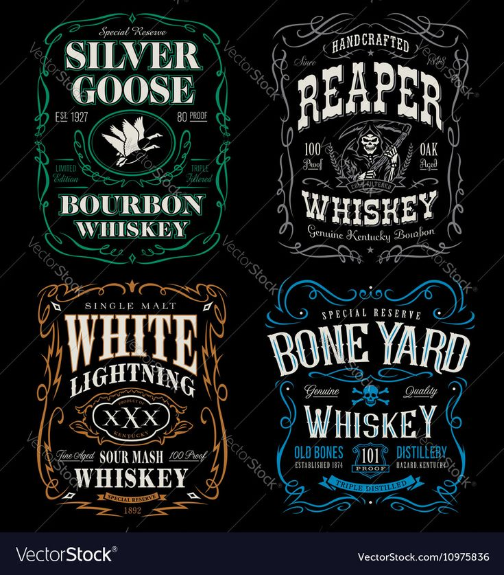 Vector image of Whiskey label t-shirt graphic set Vector Image, includes design, vintage, label, antique & decorative. Illustrator (.ai), EPS, PDF and JPG image formats.