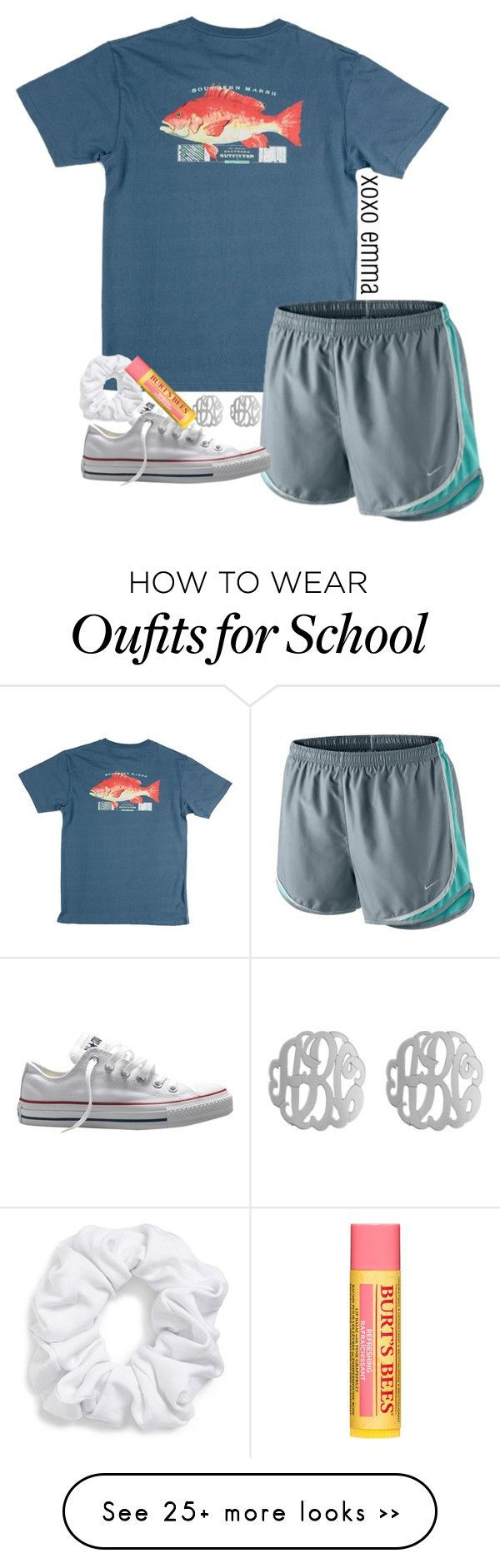 school tmrw by econgdon on Polyvore featuring NIKE, Converse, Initial Reaction, Natasha Couture and Burts Bees