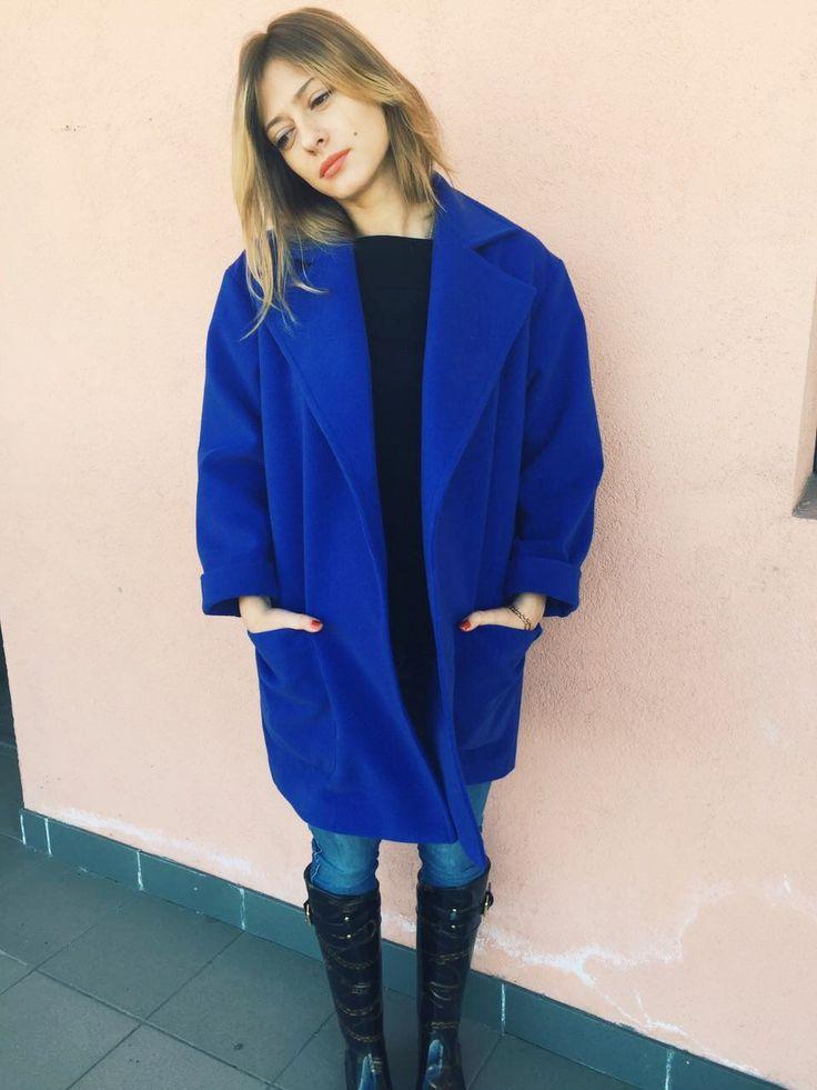 Синее пальто - кимоно
