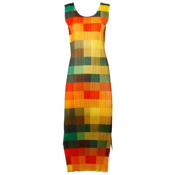 Preowned Issey Miyake Pleats Please Avant Garde Checkered Maxi Dress... ($895) ❤ liked on Polyvore featuring dresses, issey miyake, day dresses, orange, checked dress, preowned dresses, maxi dresses and checkered dress
