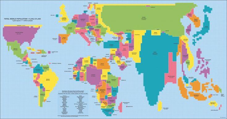 Как бы выглядела карта мира, если бы площадь стран была пропорциональна количеству их жителей?