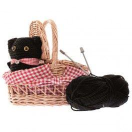 Kit créatif tricot enfant. Chat à tricoter avec panier en osier.
