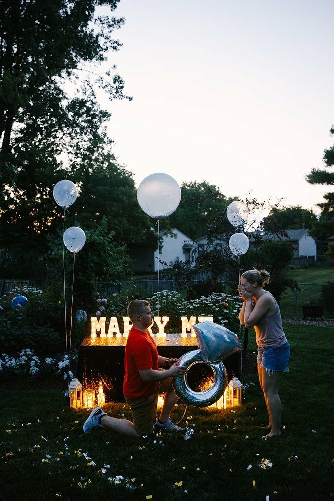 Engagement Photography Proposal Balloons Light Up Letters Ring She