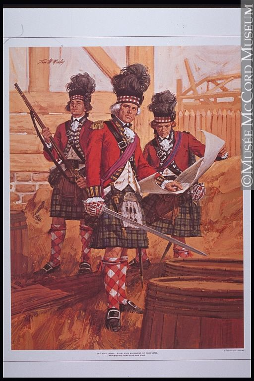British; 42nd Highlanders  still wearing regulation uniform so still early in the American War of Independence