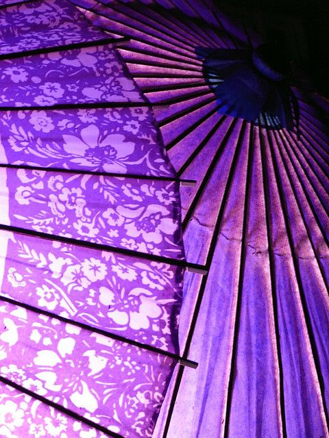Purple parasols.