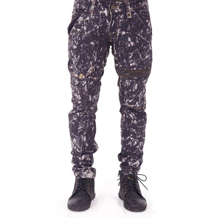 Men's denim pants with bleach splatter wash effect. Details include asymmetrical pockets, knee darts and tapered cut. Waxed denim finish also available. Designed by AndreasOne for PEACEfits.