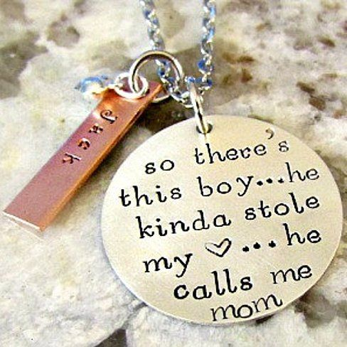 Mother Son Hand Stamped Personalized Sterling Silver Mom Necklace.