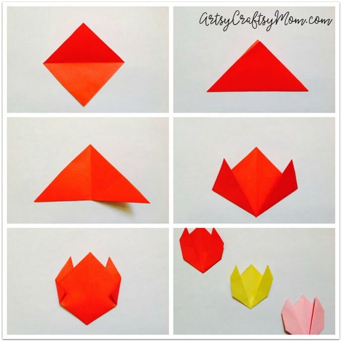 551 best origami images on pinterest paper crafts papercraft and easy origami tulip craft for kids mightylinksfo