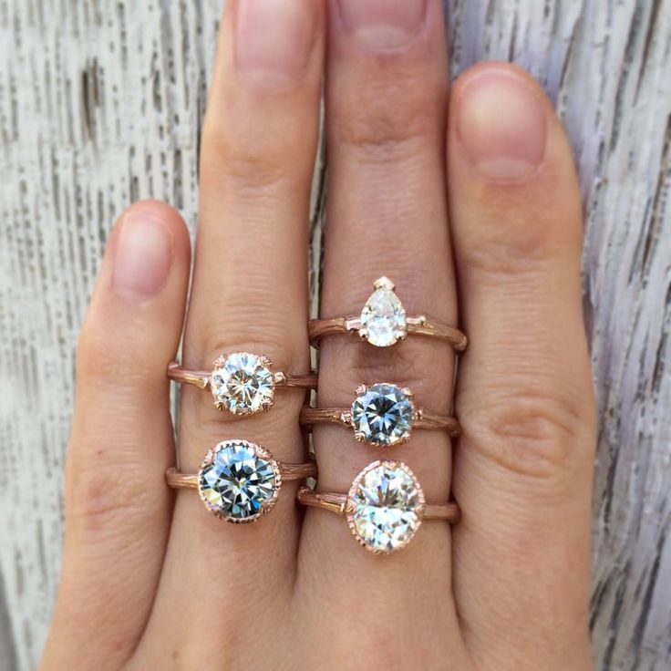 Grey & White Moissanite Twig Engagement Rings in rose gold. By Kristin Coffin Jewelry