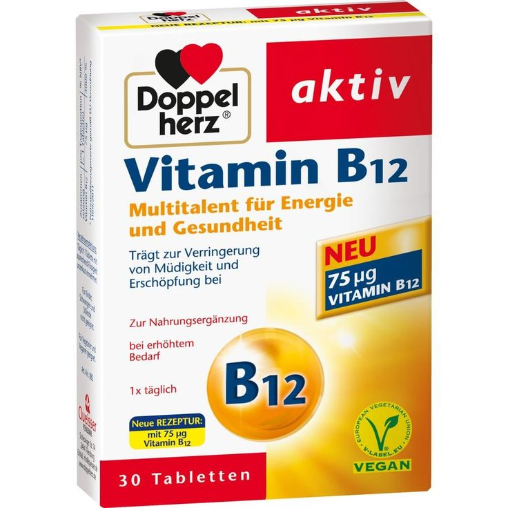 DOPPELHERZ Vitamin B12 Tabletten:   Packungsinhalt: 30 St Tabletten PZN: 01951625 Hersteller: Queisser Pharma GmbH & Co. KG Preis: 2,65…