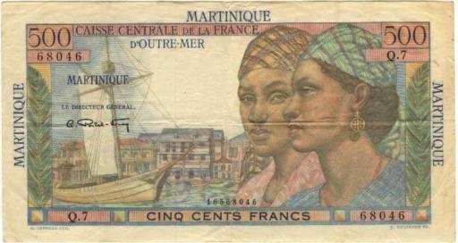 500 Francs type 1946 Pointe à Pitre (recto).