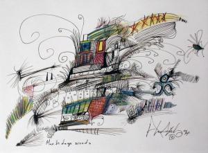 Man in Deep Woods by Alan Syliboy (mixed media, 1990) #native #art #syliboy #Mikmaq #drawing