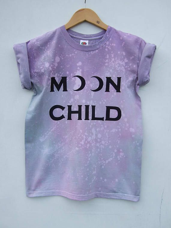 Pastel Goth Moon Child Shirt Purple Tie Dye Acid Wash