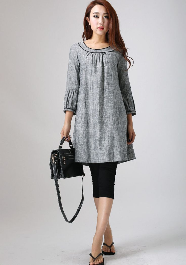 Grey Linen Tunic dress - feminine Mini Dress with round collar and flare botton - 2016 spring tunic top - linen shift dress -plus size (783) by xiaolizi on Etsy