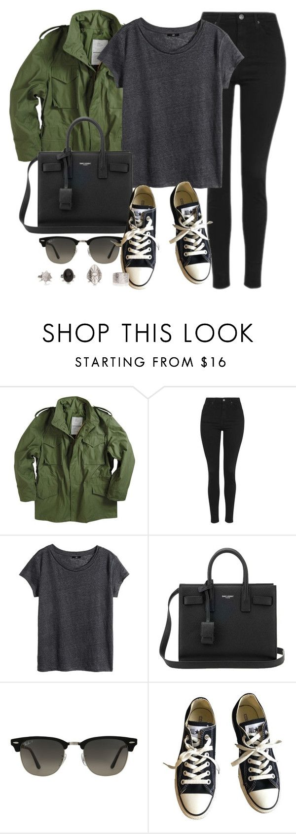"""""""Style #11334"""" by vany-alvarado ❤ liked on Polyvore featuring Topshop, H&M, Yves Saint Laurent, Ray-Ban and Converse"""