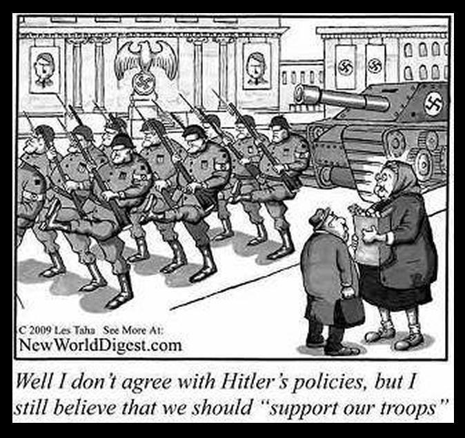 """Cartoon of two elderly Germans watching Nazi troops march down the street. One person is saying, """"Well, I don't agree with Hitler's policies, but I still believe that we should support our troops."""""""