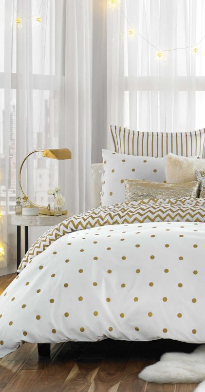 Gold dot bedding #gold #decor #bedroom #beddingbasics