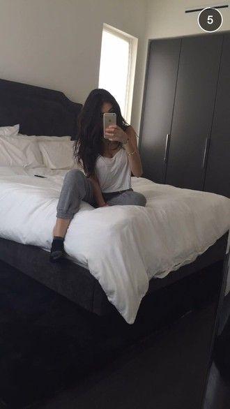 pants madison beer grey white black grey sweatpants