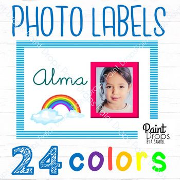 $2.50 on Tpt - 24 Editable RAINBOW NAME LABELS with Different Color PHOTO FRAMES. For 24 unique little personalities! Add kids' names and photos on these PowerPoint editable labels and you have the loveliest name tags to welcome them to class every morning. Click on the image to view the labels in my Paint Drops Teachers Pay Teachers! Check out matching teaching materials and classroom decor items at https://www.teacherspayteachers.com/Store/Paint-Drops