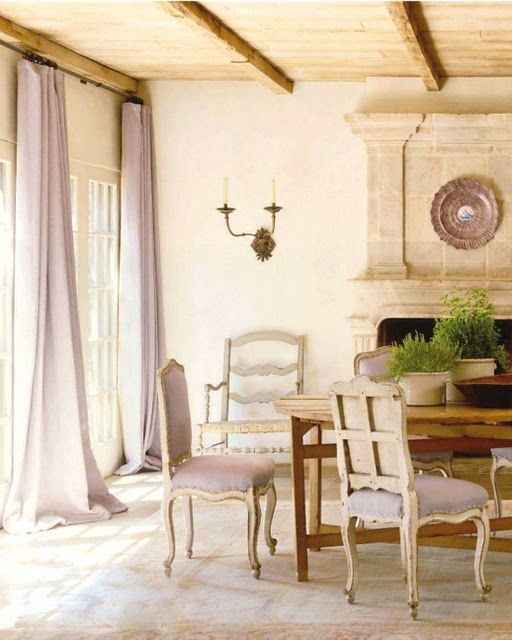 Google Image Result for http://eclecticrevisited.files.wordpress.com/2011/07/stone-neutral-colors-provencail-provence-decorating-ideas-home-decor-fireplace-dining-room-gustavian-chairs-lavender-curtain-panels-beamed-ceiling-off-white-country.jpg%3Fw%3D512%26h%3D640