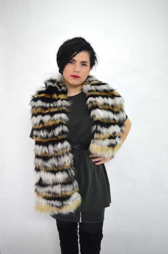 Real fox fur shawl wrap fur collar fur scarf genuine fox by BeFur