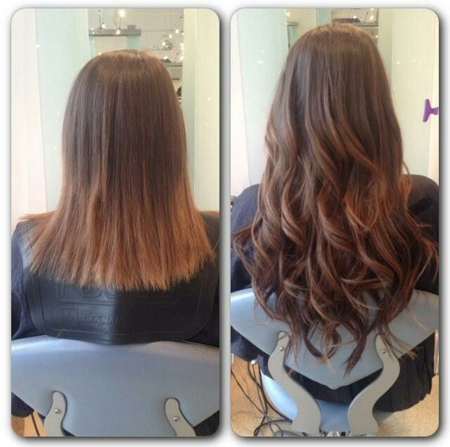 Before and after shot showing the extra length and volume that can be achieved with Rapture hair extensions.