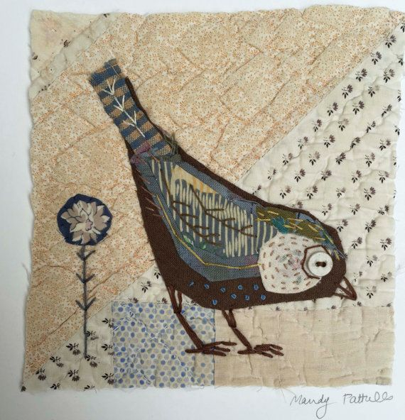 Unframed appliqued bird with embroidery on to vintage quilt fragment by Mandy Pattullo
