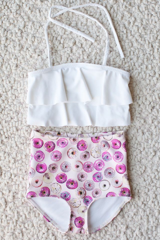 Donut print high waist bathing suit with ruffle top for little girl's