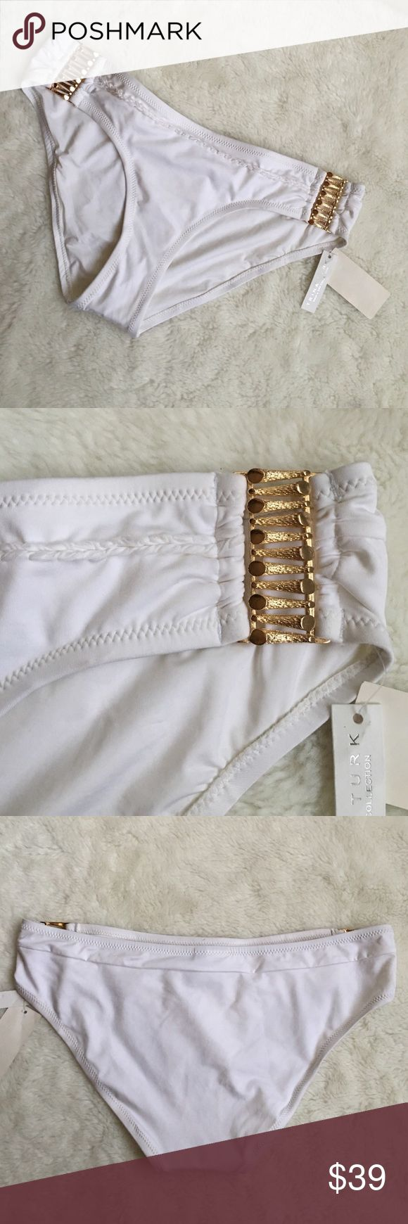 Trina Turk White with Gold Bikini Bottoms size 10 New Trina Turk White with Gold Bikini Bottoms size 10. Please look at pictures for better reference. Happy shopping!! CF Trina Turk Swim Bikinis